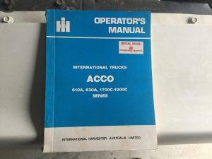 International Acco Trucks Operators Manual